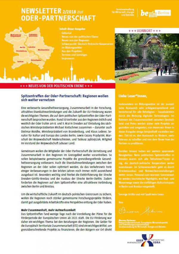 Newsletter Partnerstwa Odra
